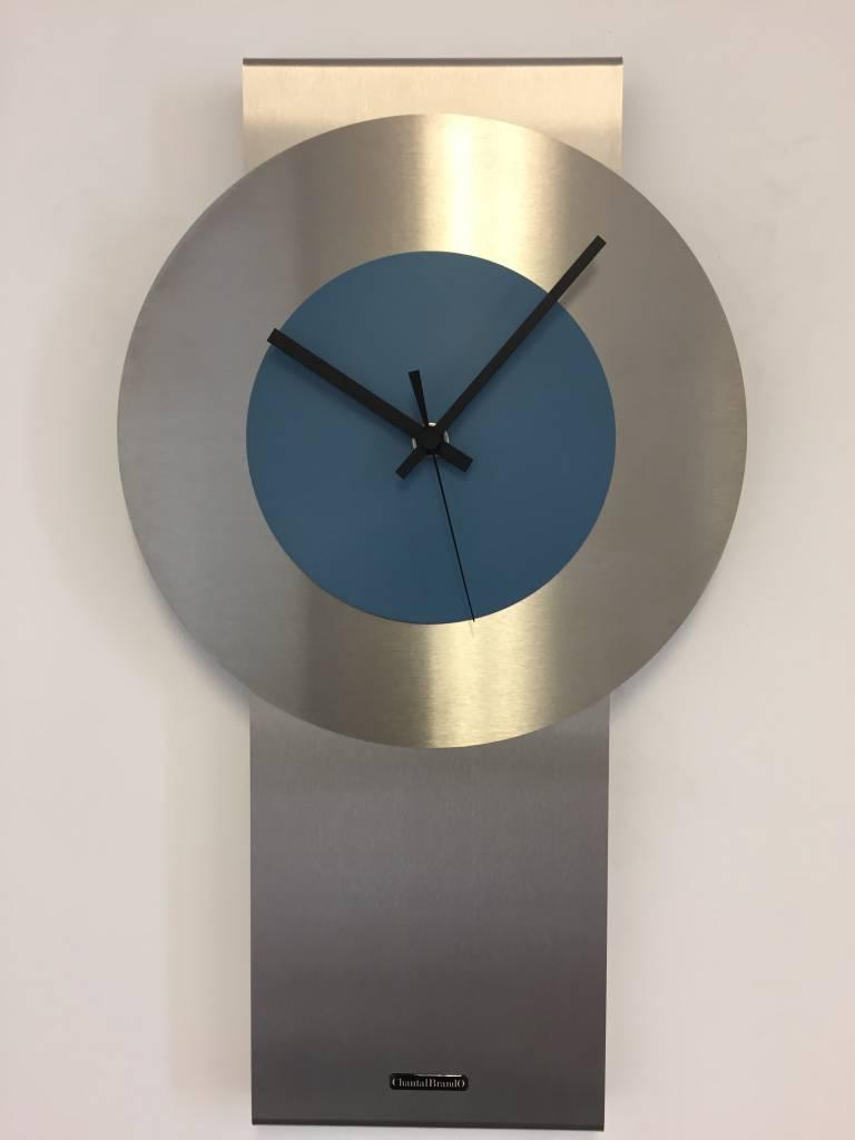 ChantalBrandO Wandklok Pendulum Steel-Blue Design