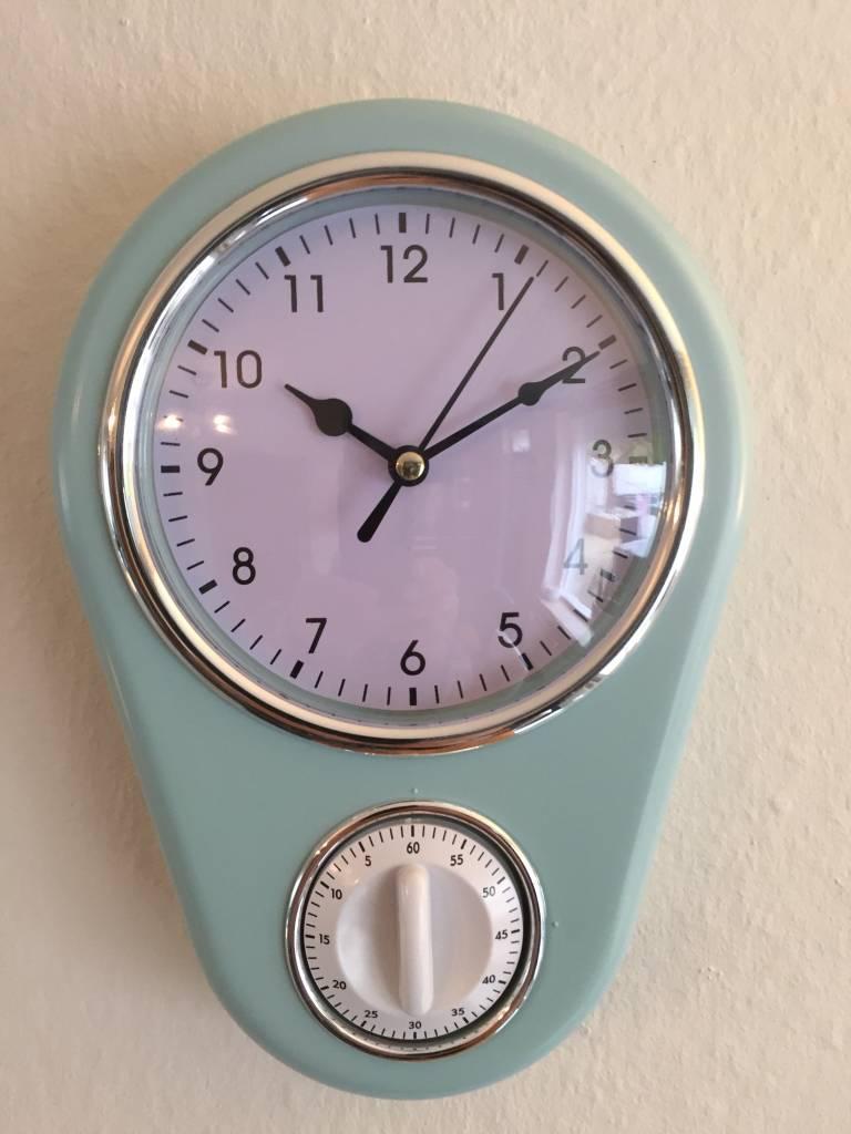 NiceTime Retro keukenklok in pastel blauw