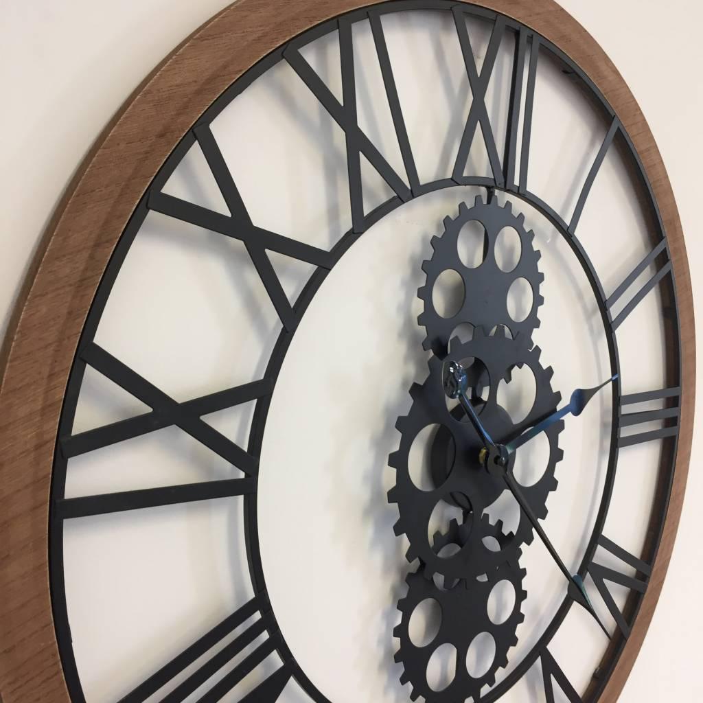 NiceTime Wandklok Industrial Design Iron & Wood