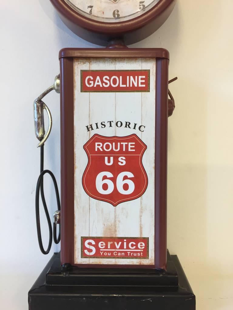 NiceTime Tafelklok route 66 Gasoline vintage RED