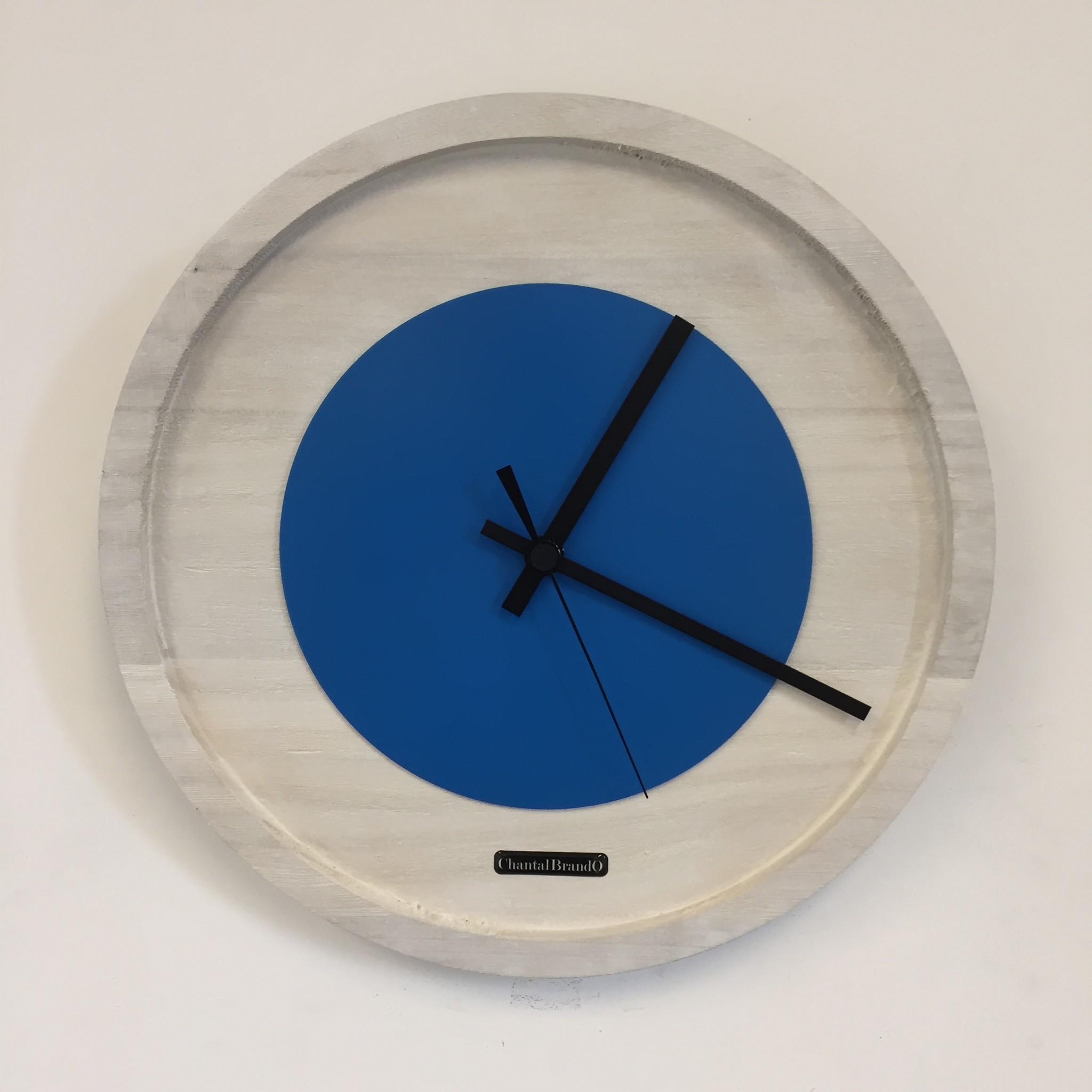 ChantalBrandO Wandklok Quinten White & Blue Modern Dutch Design