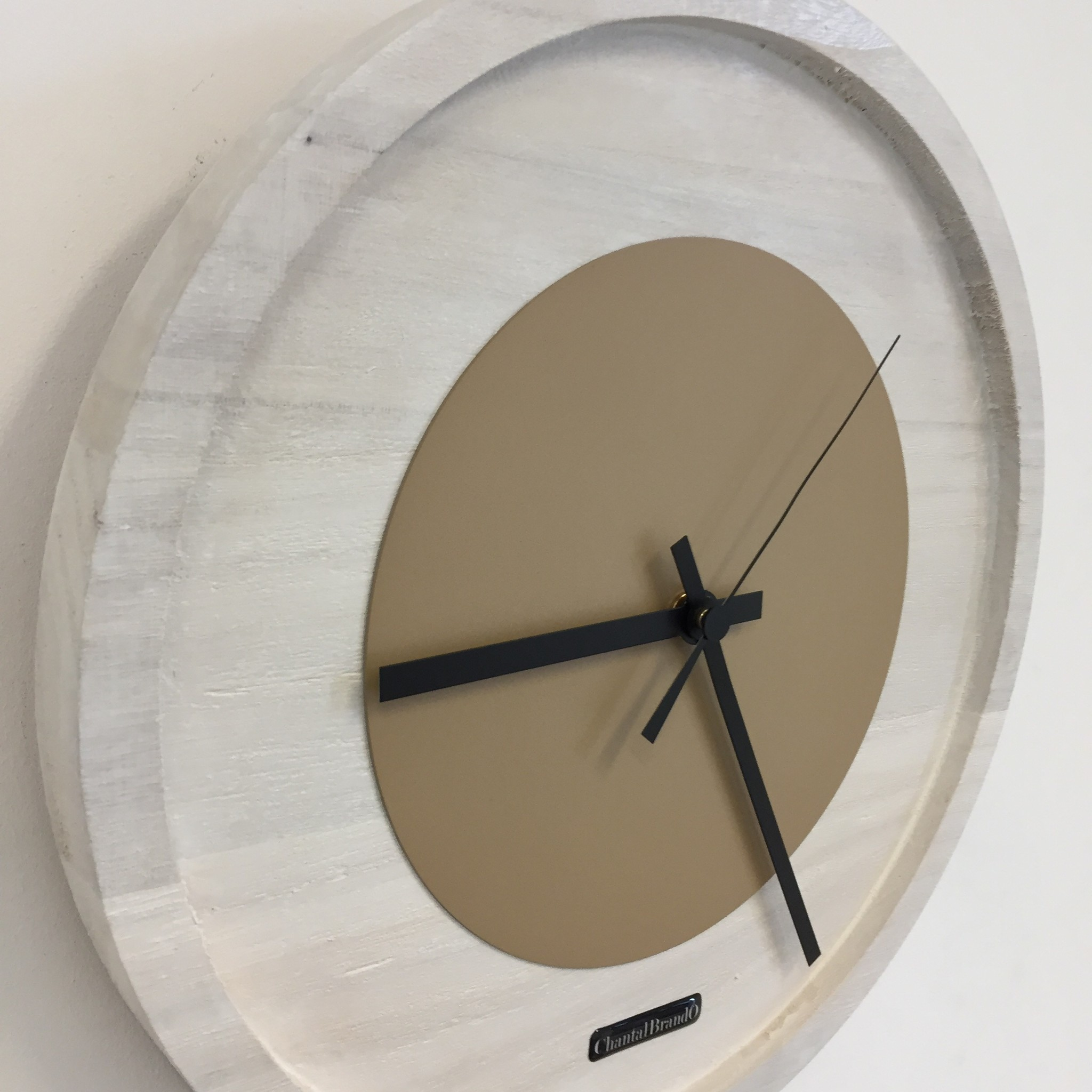 ChantalBrandO Wandklok Quinten White & Beige Modern Dutch Design