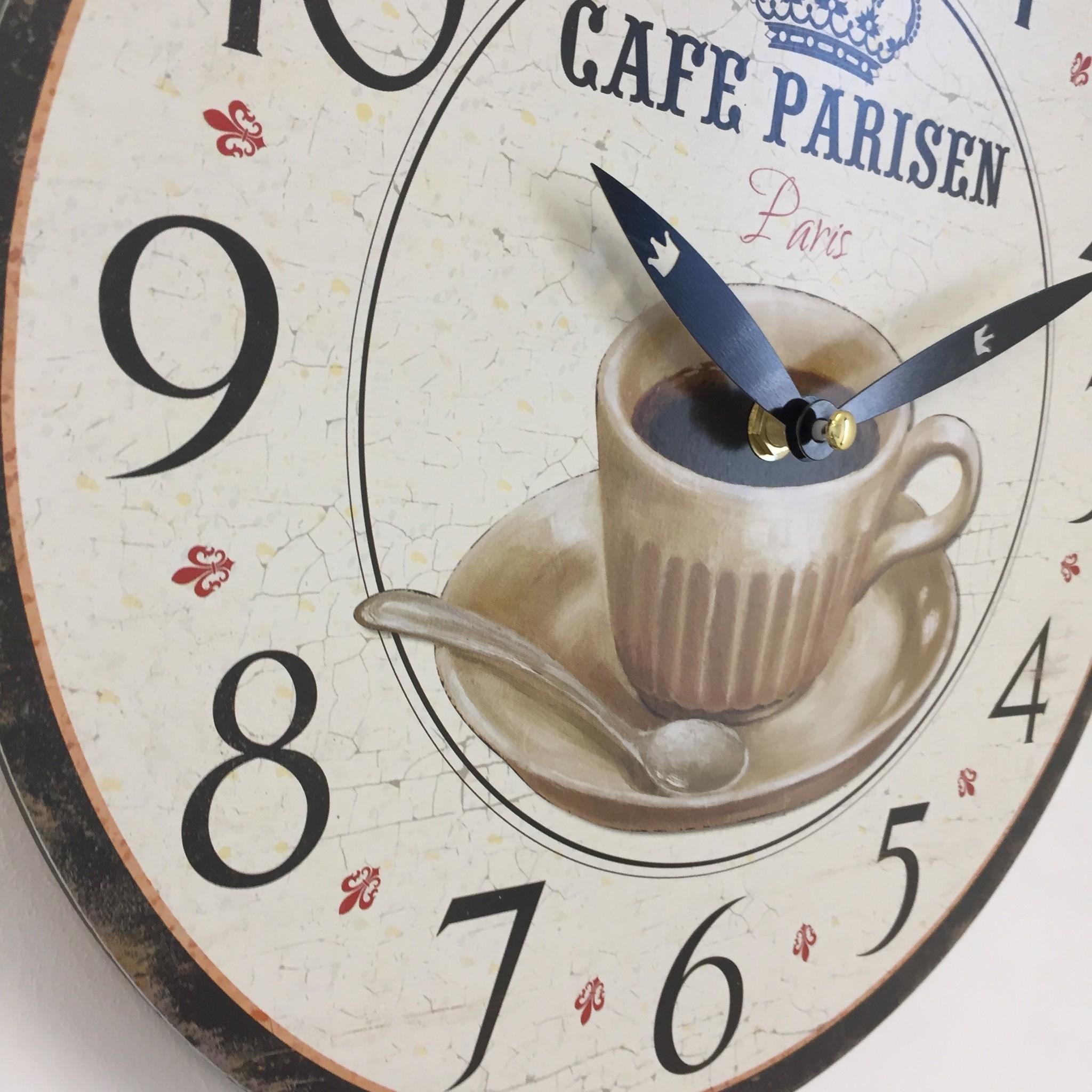 NiceTime Wandklok CAFÉ PARISIEN RETRO VINTAGE