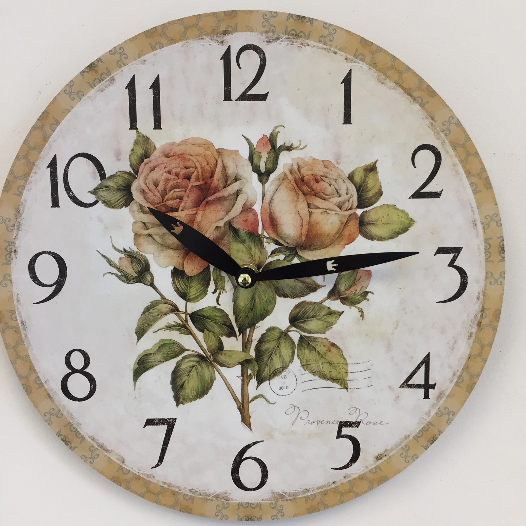 NiceTime Wandklok Provence Rose Vintage