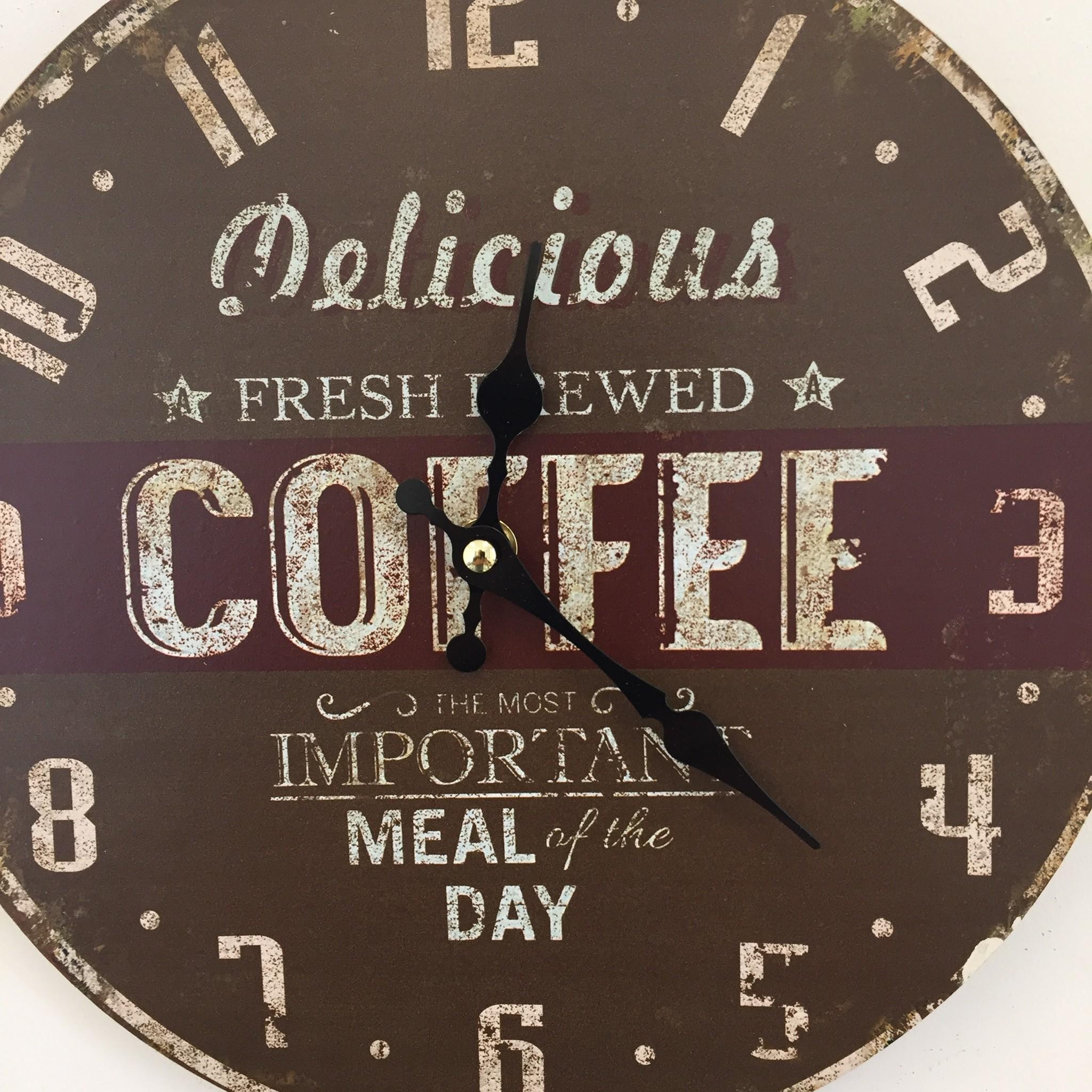 NiceTime Wandklok Coffee Brown Vintage Industrieel