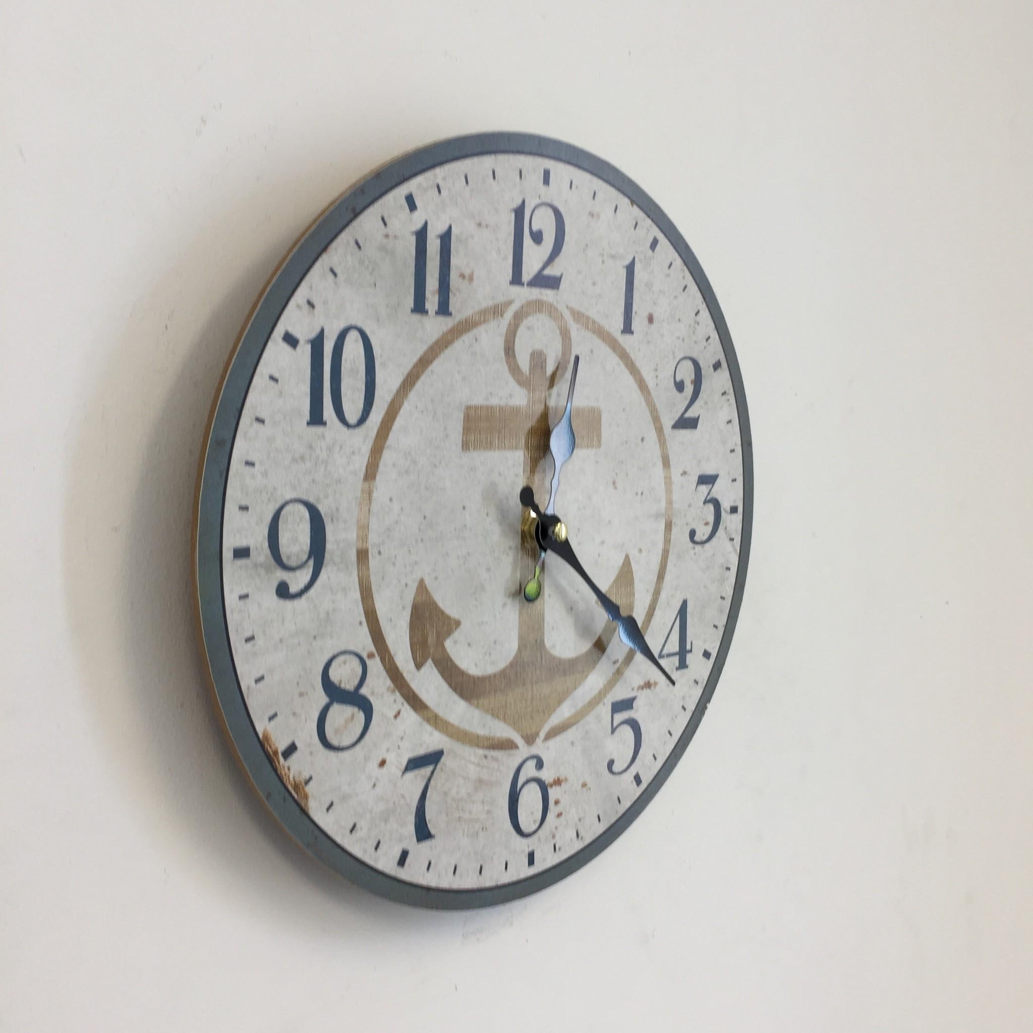 NiceTime Wandklok Nautica anker vintage industrieel