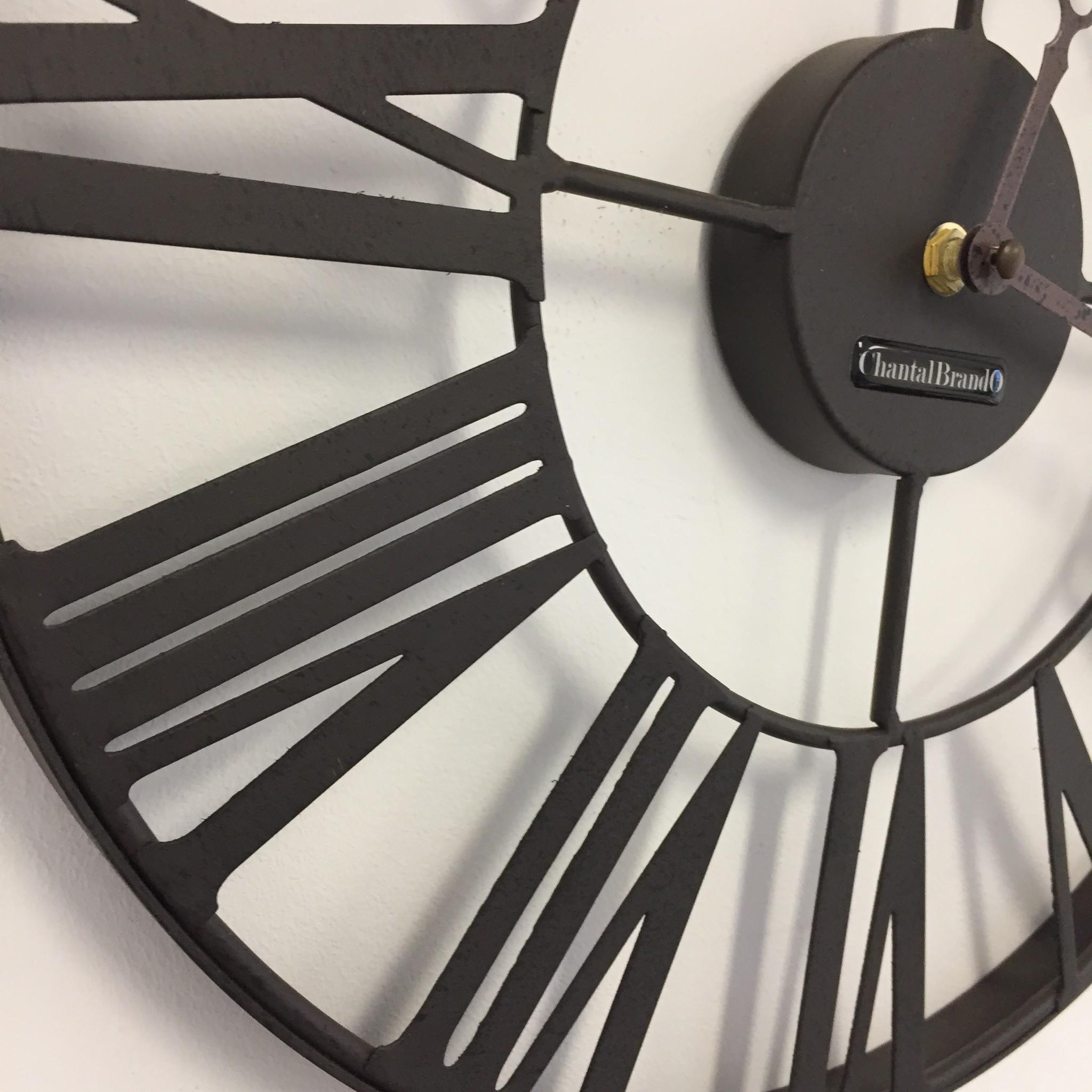 ChantalBrandO Wandklok metalen wiel retro bruin 37