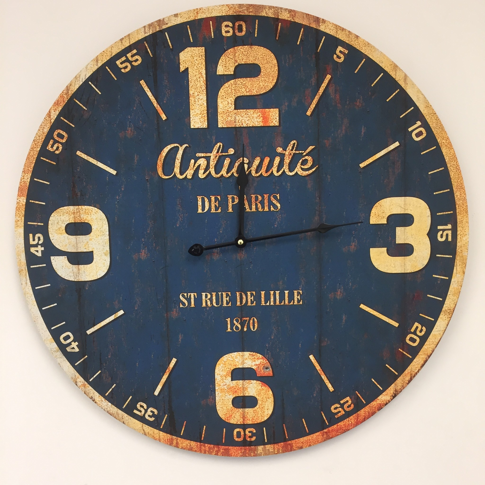 Saramax Wandklok PARIS ANTIQUE BLUE