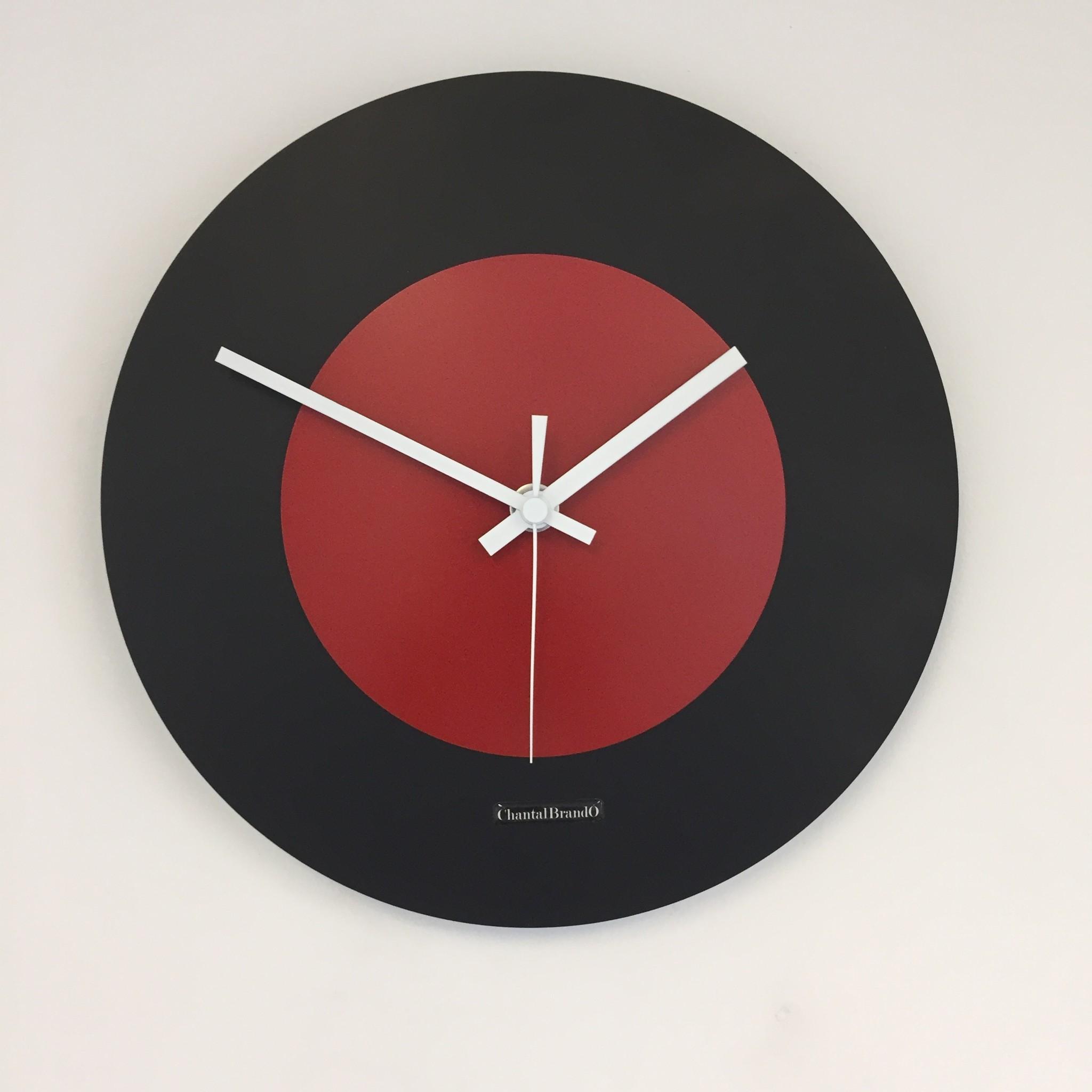 ChantalBrandO Wandklok Black & RED modern Dutch Design