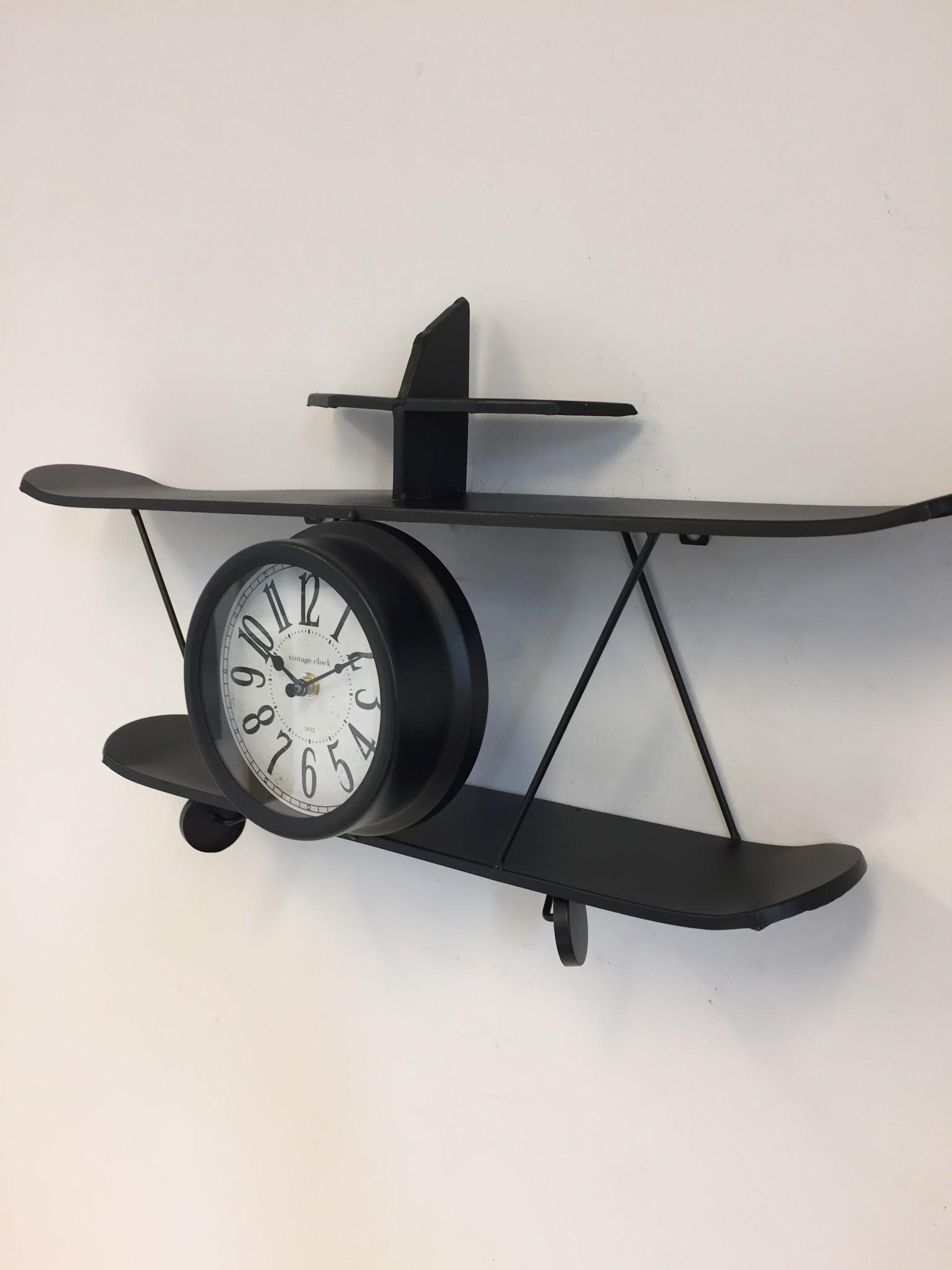 Saramax Vliegtuig wandklok Zwart modern design