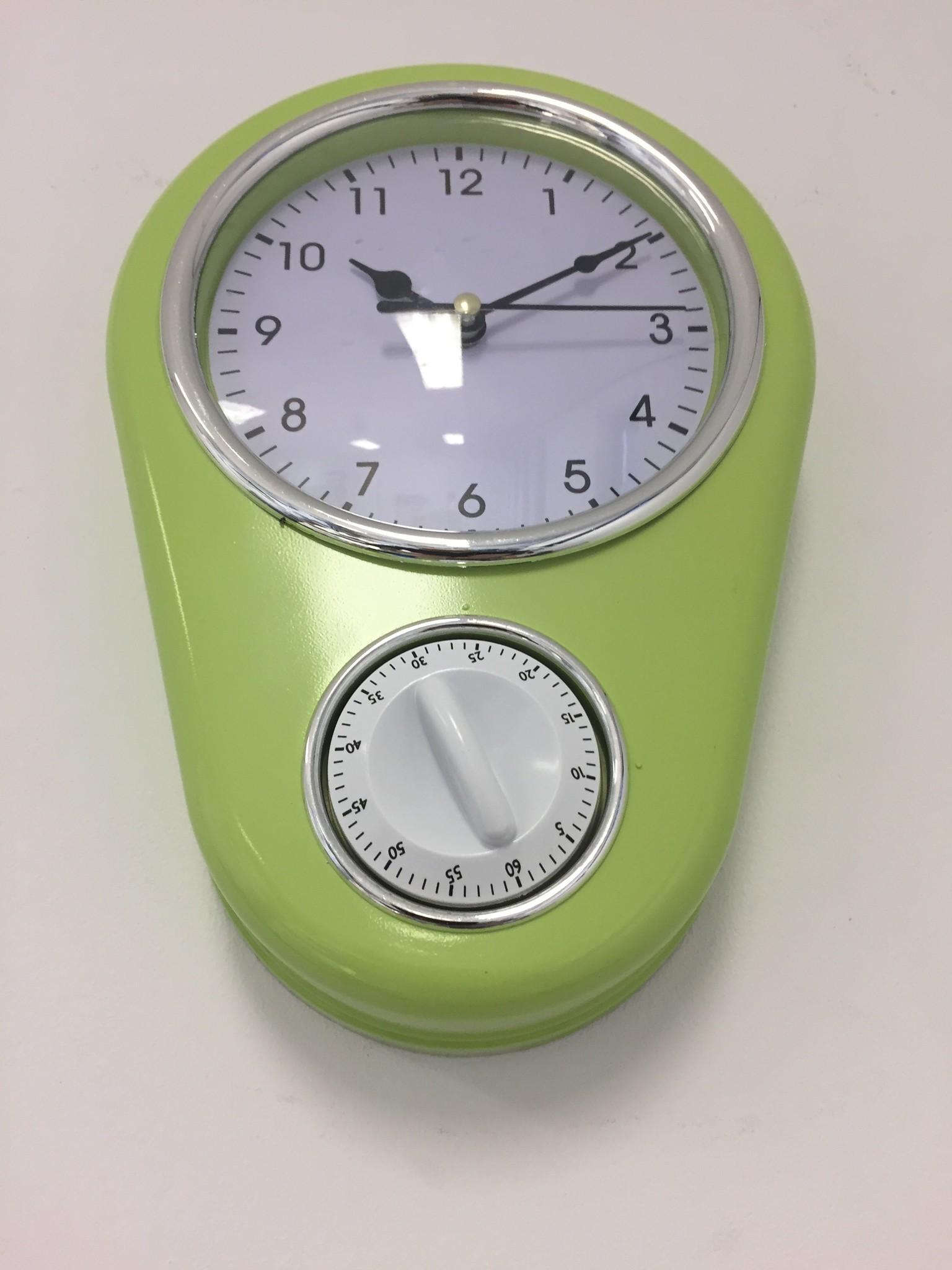 NiceTime Retro keukenklok in pastel groen