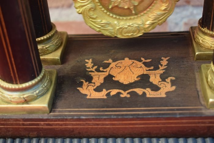 NiceTime Antieke Franse kolom pendule 1870 - hout en brons -