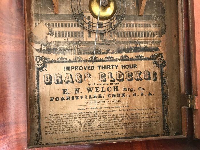 Wandklok antique USA 1890 WELCH