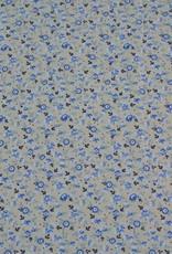 Poplin flowers small grijs blauw