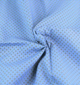 Poplin checks-dots blauw