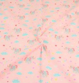 Tricot katoen stars unicorn roze
