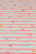 Tricot katoen stripes flowers roze