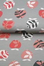 Tricot bio katoen apple grijs-roze