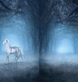 Tricot katoen panel unicorn blauw
