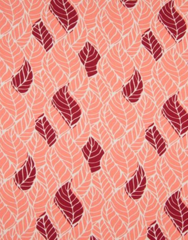Tricot katoen leaves old roze
