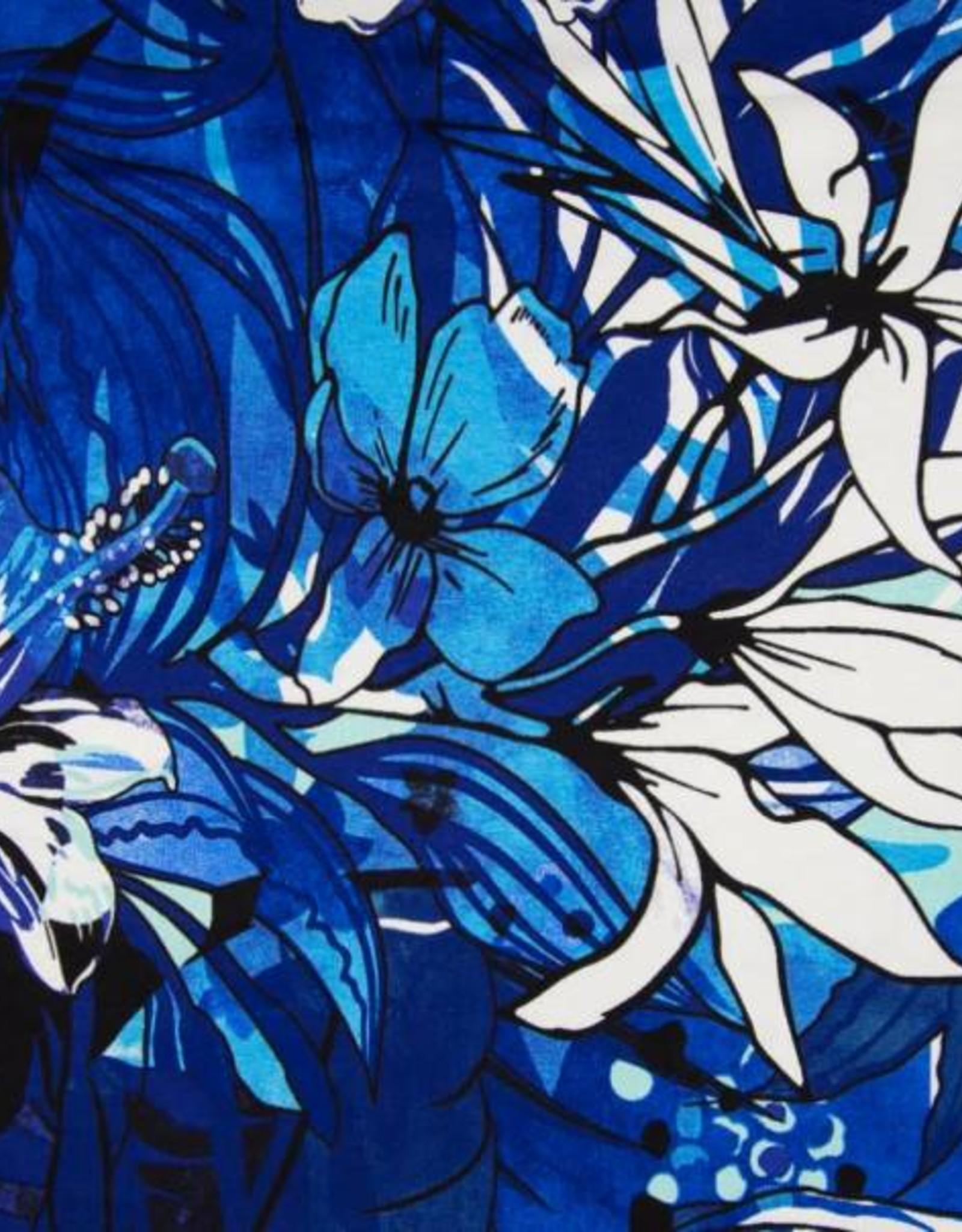 Tricot Viscose flowers royal blue