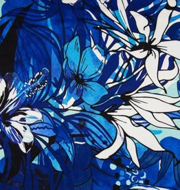 Tricot Viscose flowers royal blue
