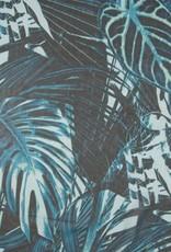 *Silky chiffon digi print leaves bruin