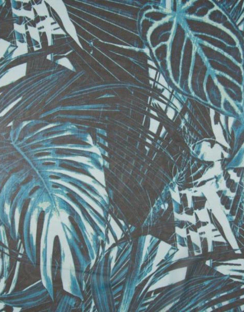 Silky chiffon digi print leaves blue