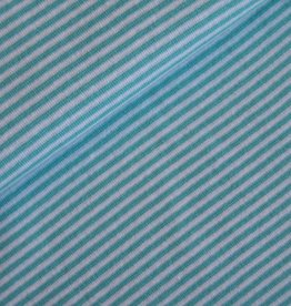 Boordstof Strepen Turquoise/wit