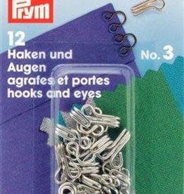 Prym HAKEN & OGEN MESSING n°3 ZILVER 12st