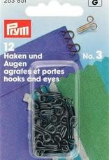 Prym HAKEN & OGEN MESSING n°3 ZWART 12st