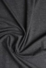 Tricot katoen uni donker grijs melange