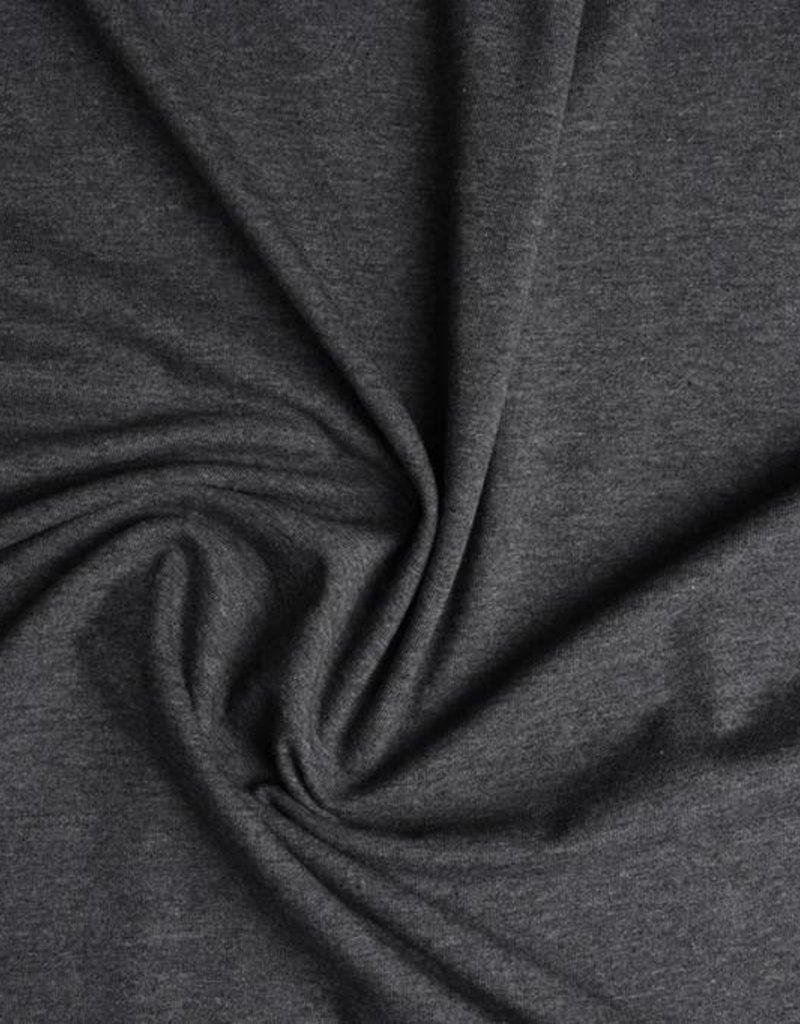 Tricot katoen uni donker grijs