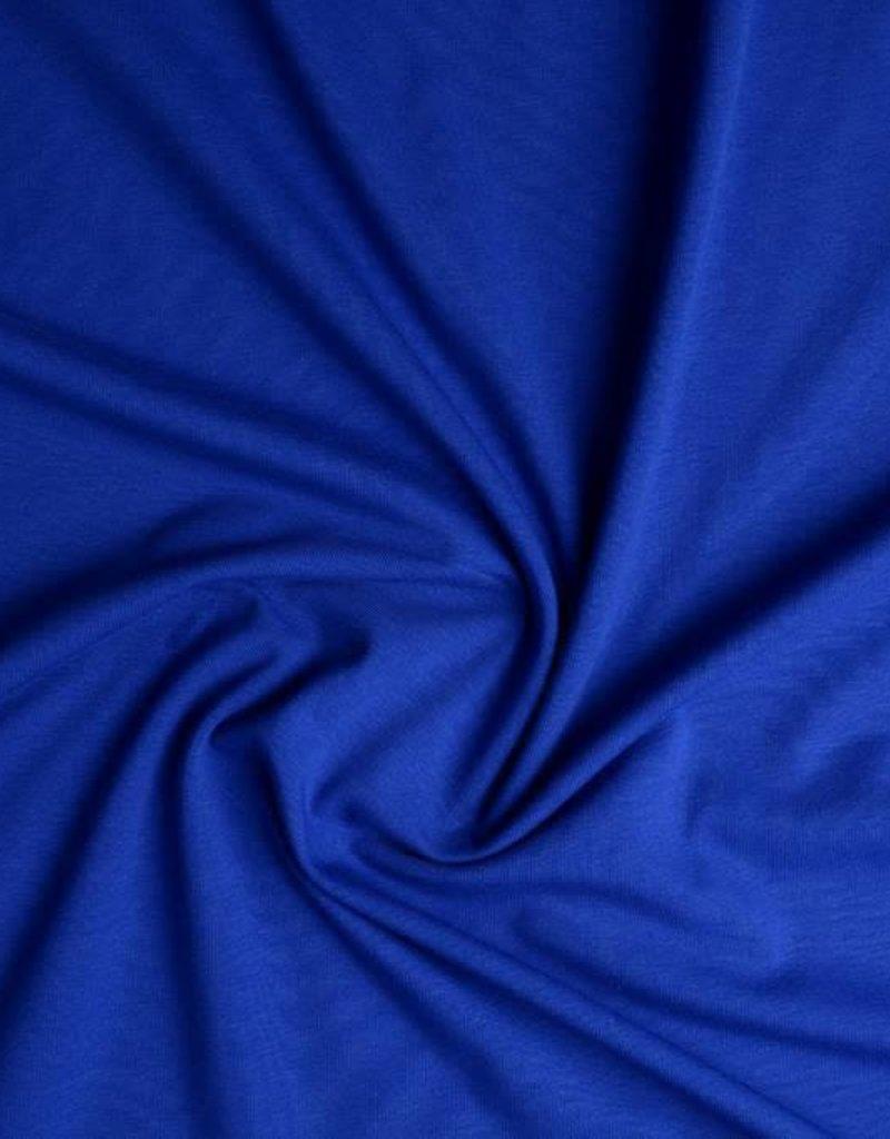 Tricot katoen uni kobalt blauw