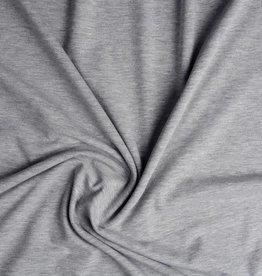Tricot katoen uni licht grijs melange