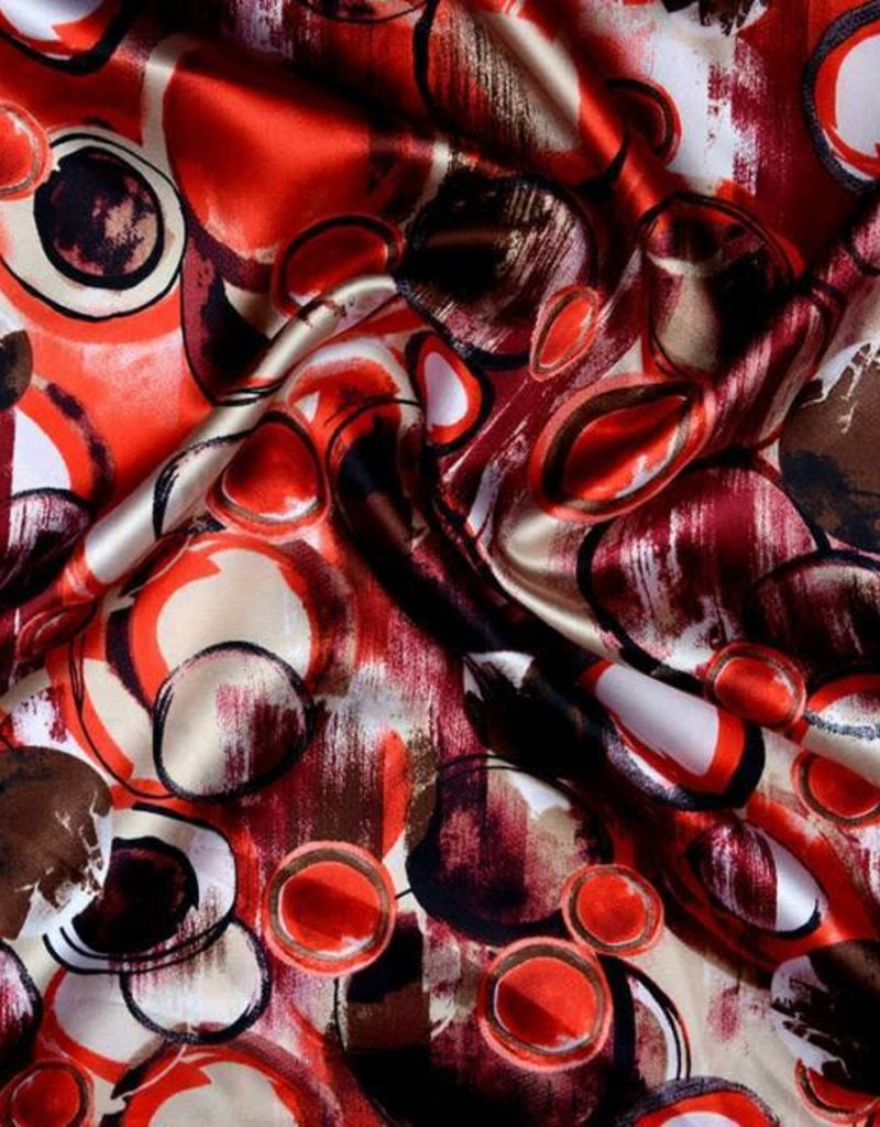 Stretch satijn circles rood