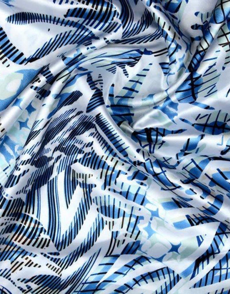 Stretch satijn stripes blauw