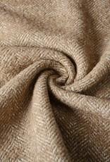 Wol visgraat structuur bruin