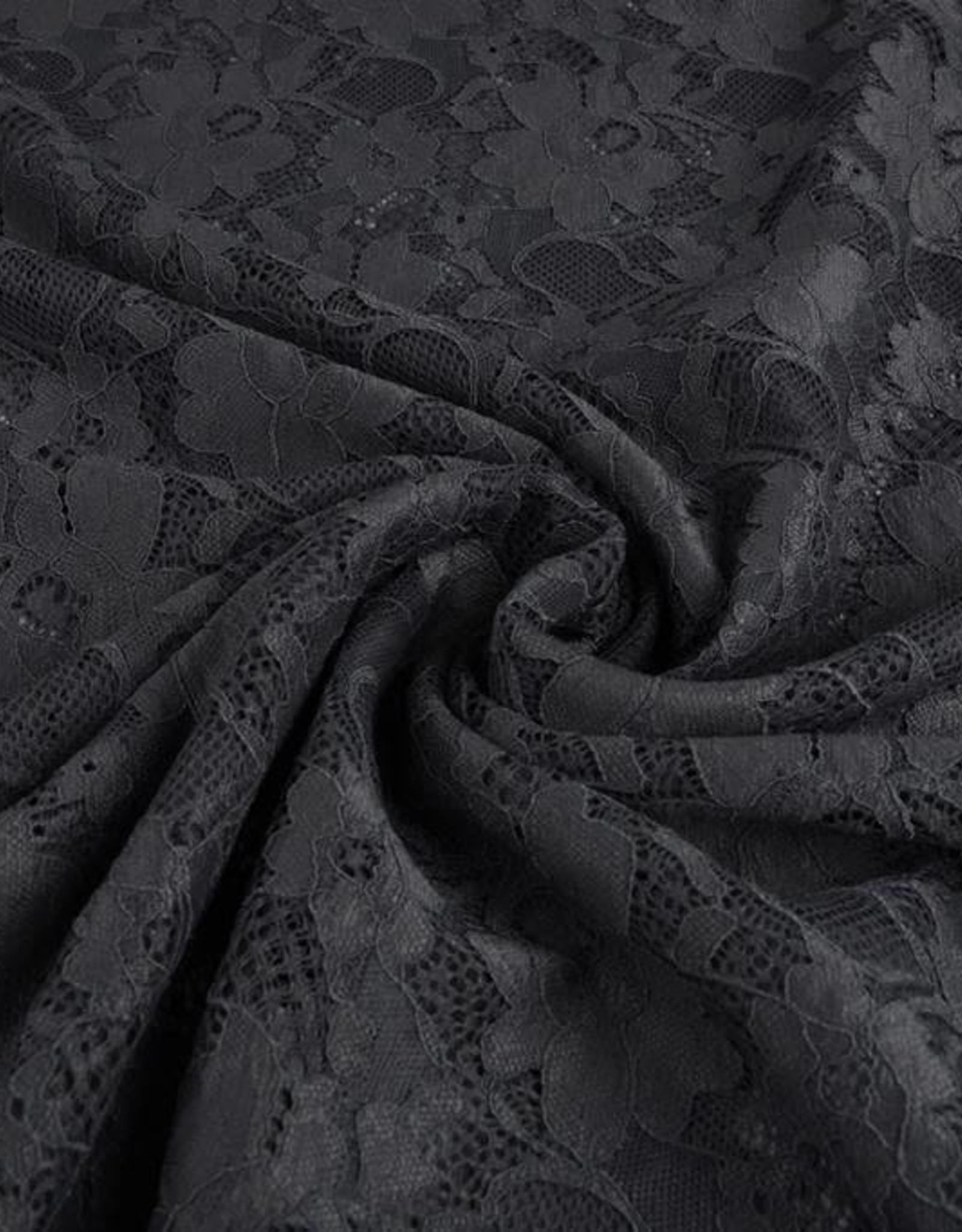 Kant bloemen donker grijs