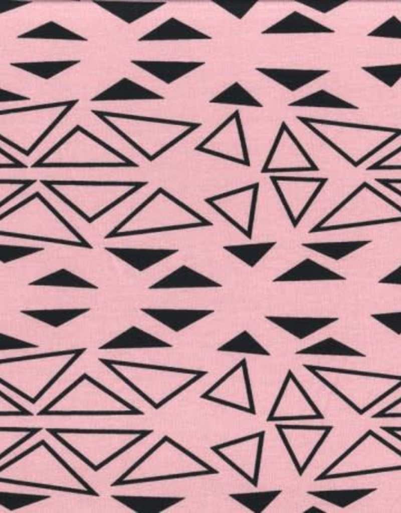 Swafing Tricot katoen small big triangles roze