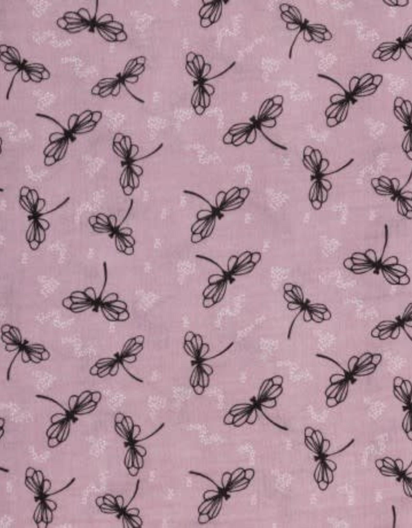 Swafing *Katoen double gauze dragonflys roze