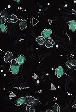 Swafing Tricot viscose flowers triangles emerald