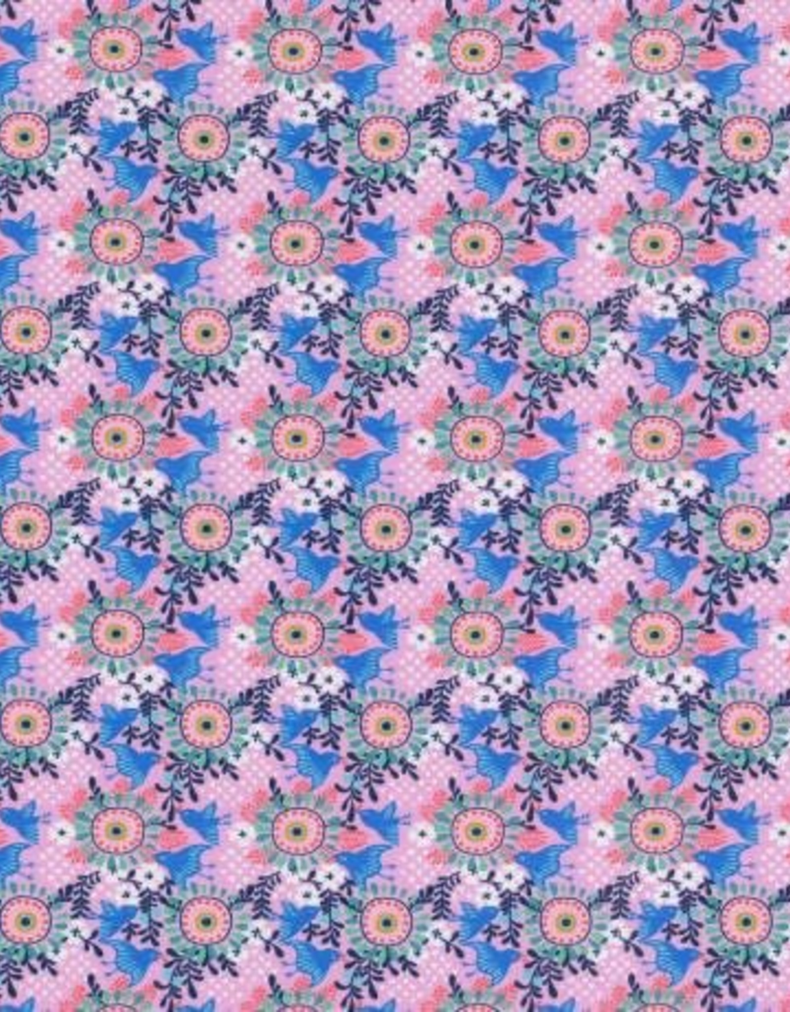 Swafing *Tricot Katoen Birds floral roze