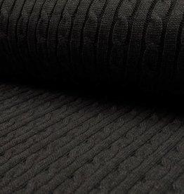 COUPON Tricot gebreid Iceland black 120*140cm