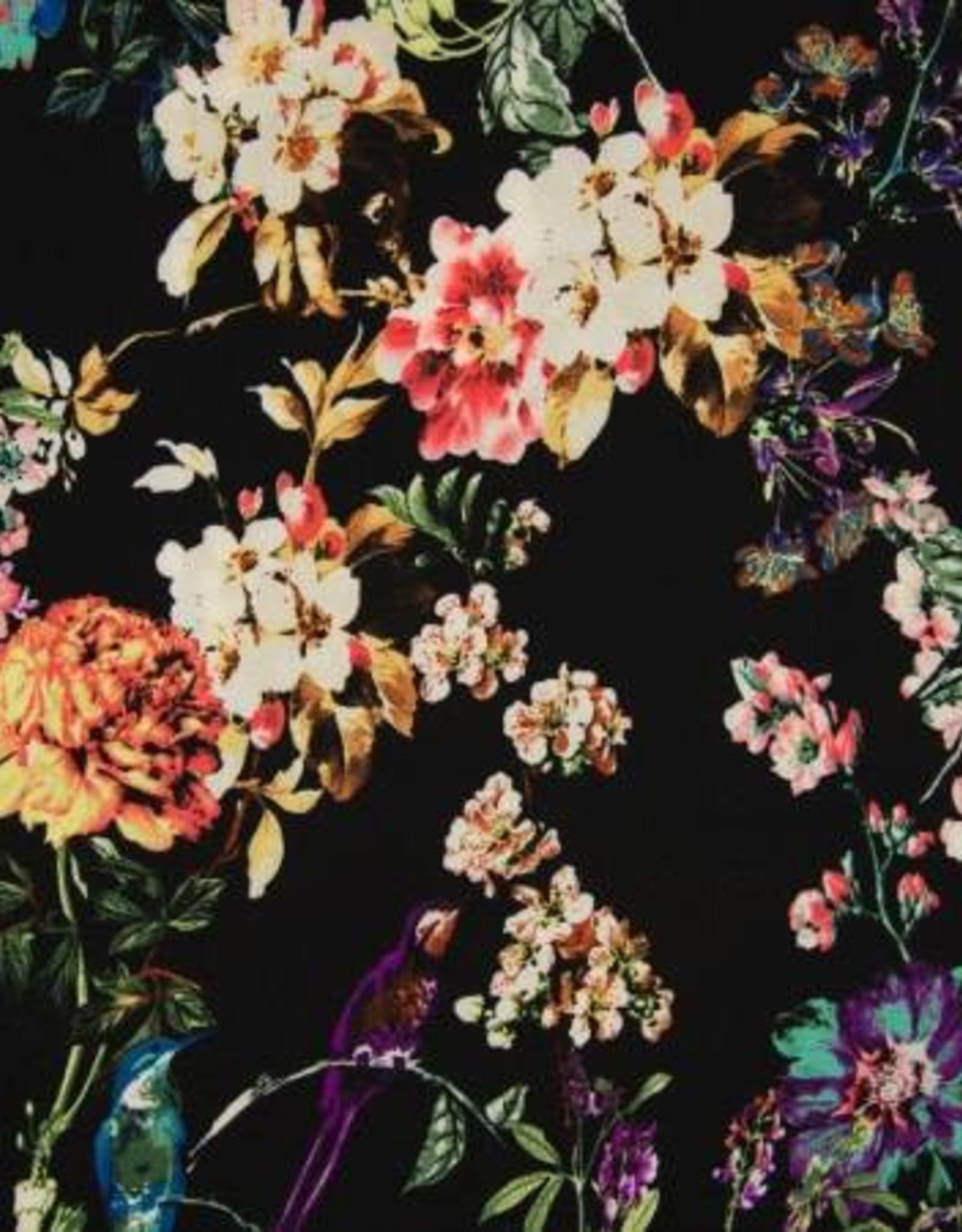 *Bubble chiffon black flowers
