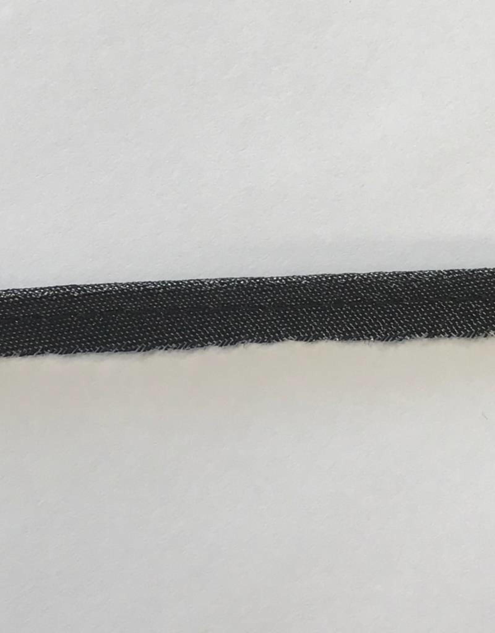 Paspel glitter zwart