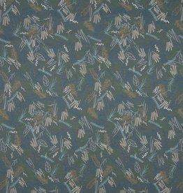 Qjutie Tricot katoen doodle leaves grey