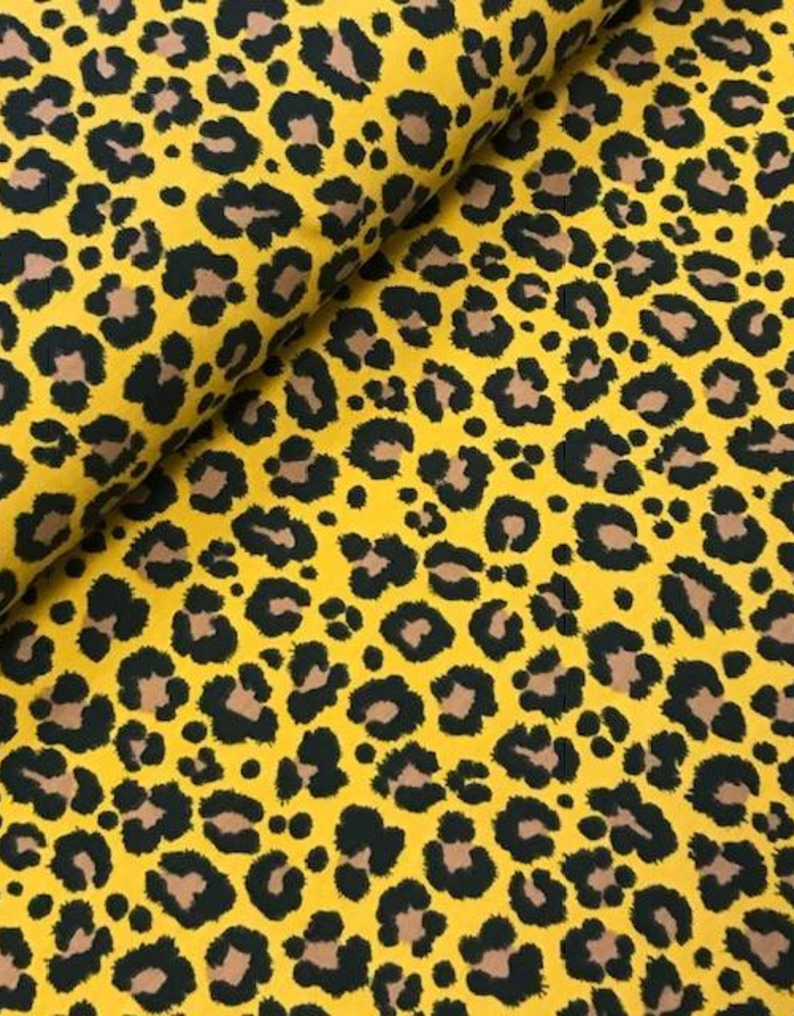 Qjutie Tricot katoen leopard L zwart oker