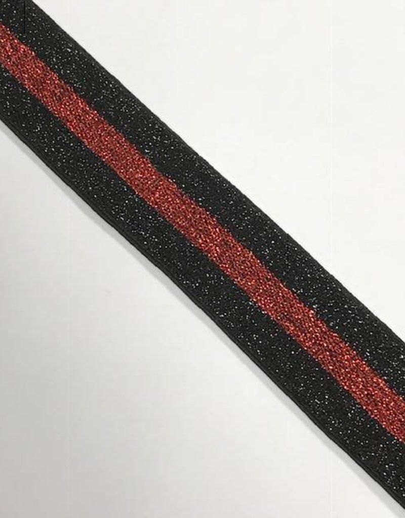 ELASTIEK 40mm zwart rood