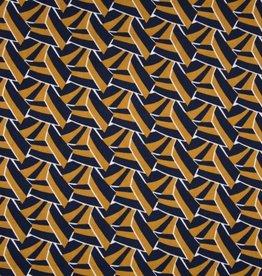 COUPON Viscose blocks navy wit bruin 105*140cm